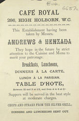 Advert for the Cafe Royal